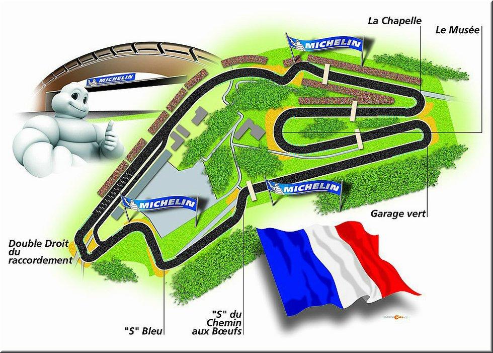 Tracé du circuit Bugatti présenté par Bibendum Michelin