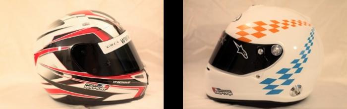 A gauche un casque de moto et à droite un casque automobile